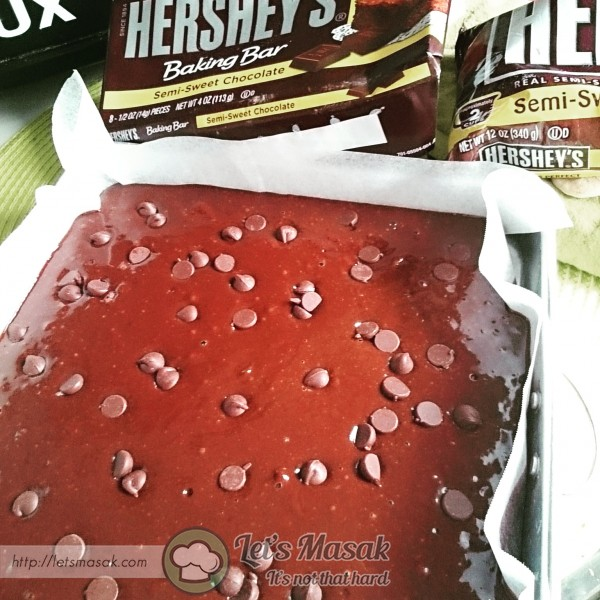 """Pour the batter into the baking tray (10"""" x 10"""") and bake in the oven 170 degree Celsius for about 25 to 30 minutes"""