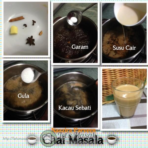 Masukkan air, daun teh, bunga lawang,cengkih, buah pelaga, kayu manis, halia, lada hitam ke dalam periuk.