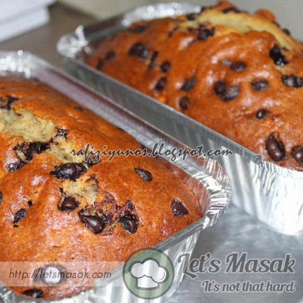 Kek Pisang Dengan Dark Chocolate Chip
