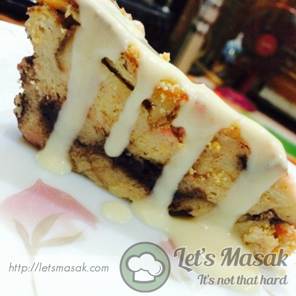 ... Bread Butter Pudding With Vanilla Custard Sauce Recipe | LetsMasak