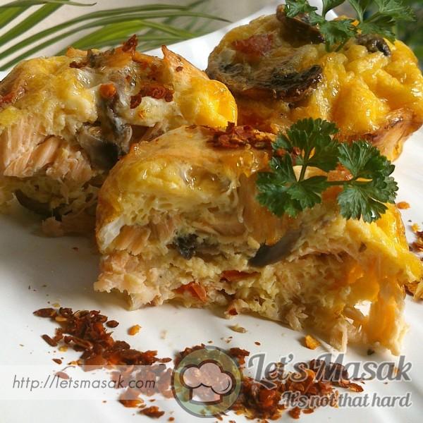 Salmon & Prawn Egg Muffin