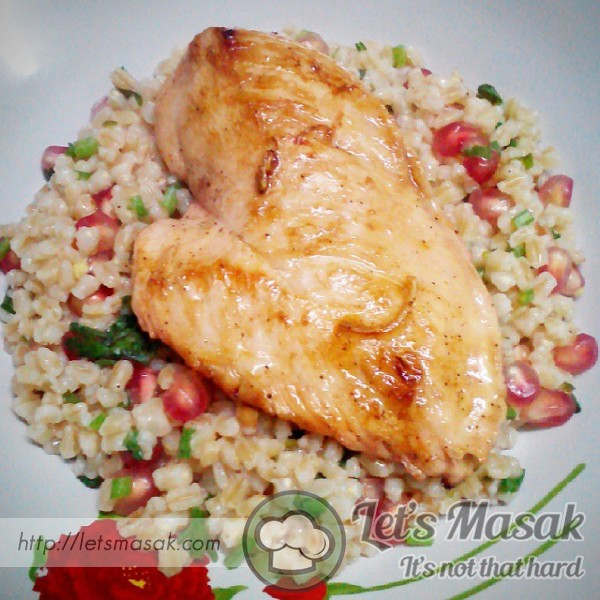 Lime Pomegranate Chicken Breasts With Herbed Farro