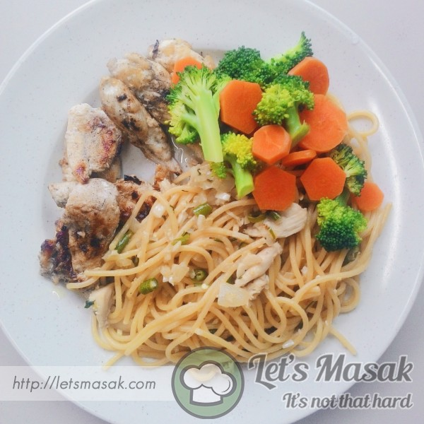 Aglio Olio Spaghetti With Grilled Chicken