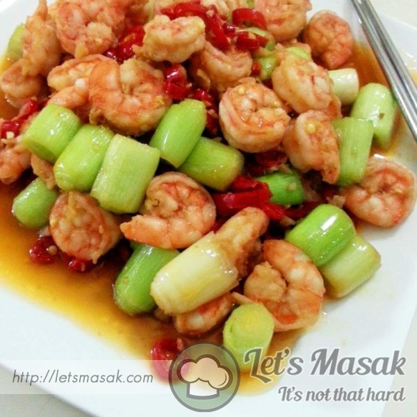 Fried Prawns With Leeks And Chili.