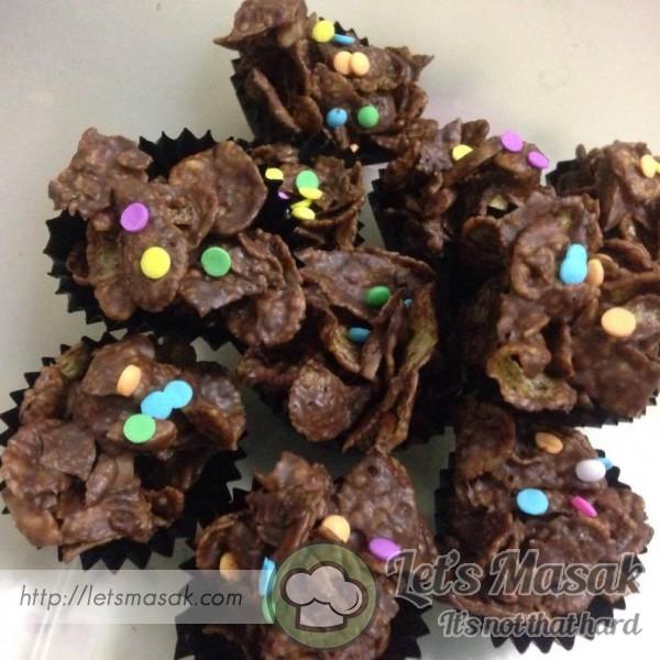 Chocolate Cornflakes Dengan Badam Rangup - No Bake
