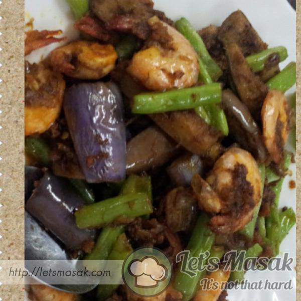Udang Goreng Terung & Kacang Buncis