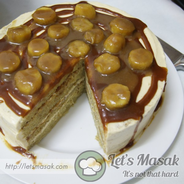 Moist Banana Cake With Caramel Buttercream And Caramelized Banana Topping