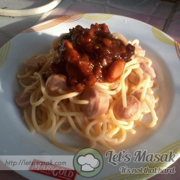 Spaghetti Hotdog Simple Bujang